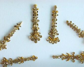 12 Gold Antique Bridal Long Festival Face jewels Bindis,Bridal Bindis Stickers,Stone Bindis,Gold Bindis,Gold Bindis,Self Nail Art Sticker