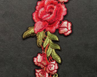 Embroidered Rose Applique - Iron On Patch