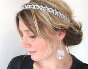 Headband hair accessory/silver / shiny silver Lurex lace.