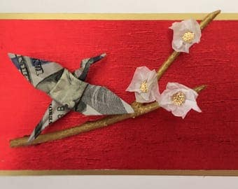 Red and Gold Origami Crane
