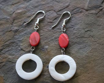 Pink and white drop earrings