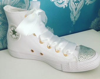 Leather crystal converse