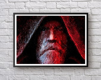 Star Wars Luke Skywalker Print, Star Wars: The Last Jedi Poster, Mark Hamill, Watercolor Art Print, Kids Room Decor, Man Cave Birthday Gift