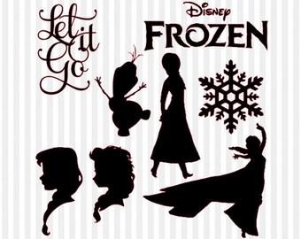 Frozen SVG, Frozen Clipart, frozen silhouette, disney svg, svg files for silhouette cameo, svg files for cricut, frozen olaf, frozen elsa