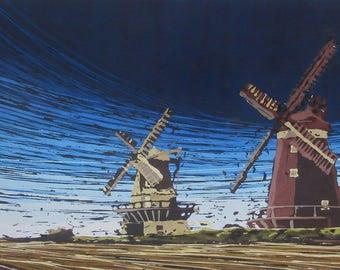 Windmills, Acrylic, 45 x 28.4 cm, painting windmill wind storm landscape nature original unique