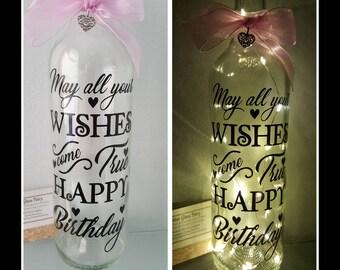 Happy Birthday LED Light Up Bottle. Unique Birthday Gift