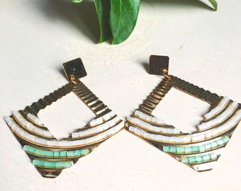 70's vintage earrings- gold tone earrings with turquoise and white beading