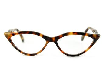 Flattering & sexy almond shaped 'AMELIE' in Classic Tortoiseshell contemporary designer Cat Eye Glasses . Handmade for you  . Rx or readers