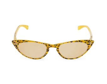1950s 60s style CAT EYE  Yellow Leopard Crystal sun readers NEW made to original vintage design 'Peggy'