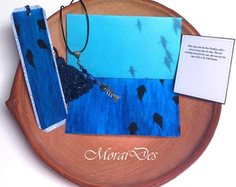 Dyed tuna card and bookmark fish-gift history lovers-ocean lovers-necklace-envelope-Acrylic paint