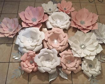 14 pc Blush and White Giant Paper Flower Backdrop