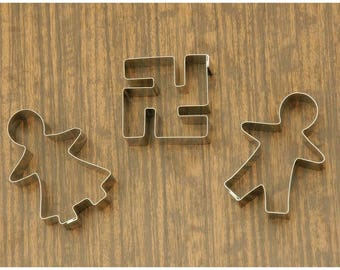 Harmony. Cookie Cutters set of 3 pieces. Gingerbread Man, Gingerbread Woman & Swastika