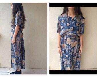 Amazing 80s Vintage Oversize Boho Retro Grunge Blue/White/Beige Patterned Maxi Dress / boho maxi dress