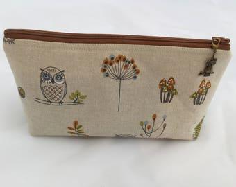 Handmade | Cosmetics Bag | Woodland Animals | Zippered Pouch | Crafts pouch | Project Bag | Make-up Bag | Toiletries Bag | Owl Bag | Fox Bag