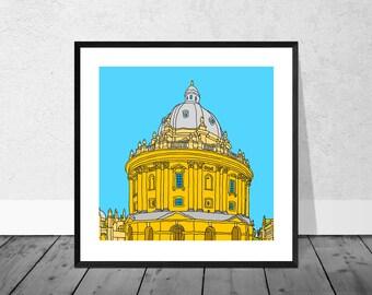 Oxford Art Print, Oxford Illustration, Radcliffe Camera Illustration, Illustration Art Print, Oxford University, Wallart, Home Decor