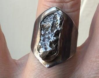 best price- RARE METEORITE RING- Vintage Sterling silver ring- Genuine huge Meteorite- Unique vi tage jewelry- Great effet!!!