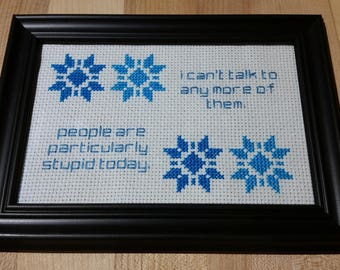 Gilmore girls Michel Gerard quote cross stitch