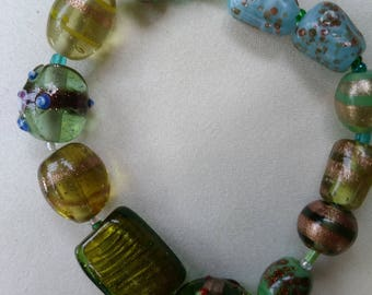 Blue/green glass bracelet