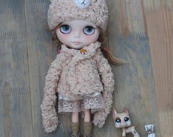 FOR ORDER/ Bear hat+sweater for Blythe doll teddy bear