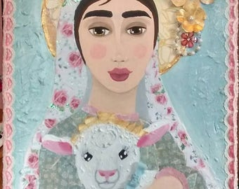 Mary and Lamb Painting