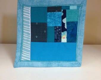 Blue Scrappy #6 Mug Rug Coaster Mini Quilt Wall Art Handmade Quilted