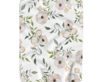 Floral Blush Sherpa Fleece Throw Blanket