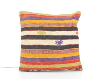 16''x16'' Turkish Kilim Pillow, Vintage Kilim Pillow, 40x40 cm Decorative Pillow Cover, Throw Pillow, Kilim Pillow Case