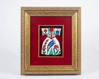 Ceramic (Iznik Pottery) Caftan with vest with gold frame