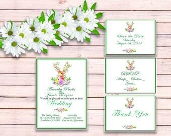Boho Wedding Invitation - Boho Antler Invitation - Wedding Invitation Template - Wedding Invitation Printable - Wedding Invitation Suite