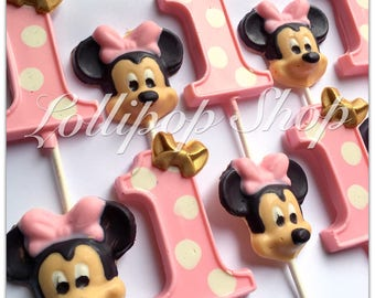 12 Pink and Gold Minnie Mouse chocolate lollipops (Birthday, Disney, Party, Minnie Mouse party favors, first birthday)