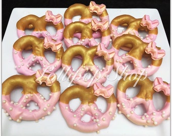 12 Pink and Gold Minnie Mouse Pretzels (First Birthday party favors, baby shower, party favors, candy table, number 1, Minnie thank you)
