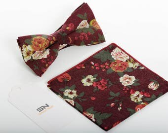 Bow Tie, Red Floral Pre-Tied Bow tie, Groomsmen Wedding Bow Tie , Floral Bow Ties,Bow Ties for men, Pocket Square