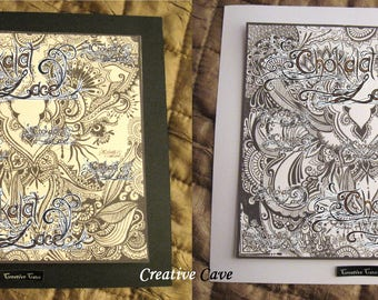 Creative Cave - Colouring Picture, hand drawn art, henna & tribal shapes, original design, children,adults, fun,colour, frame picture