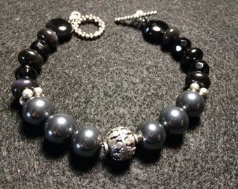 Hematite and Obsidian Bracelet