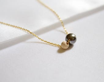 Dark Gray Pearl Necklace//Two Ball Bead Necklace//Gold Floating Necklace/14k Gold Filled Stardust Ball necklace/gray Pearl Necklace/Everyday