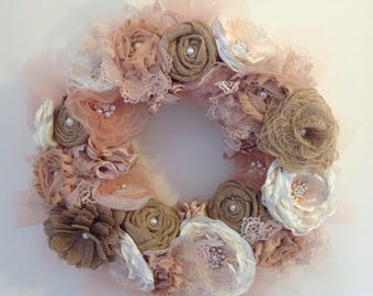 Peach organza wreath decorated with a variety of my handmade hessian, satin, lace and fabric flowers. Wedding/ home