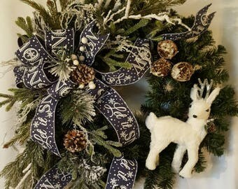 Winter Wreath, Evergreen Wreath, Door Wreath, Snow Wreath, Winter Scene,
