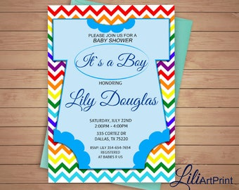 Baby Shower Invitation, Rainbow Baby Shower, Boy Baby Shower Invite, Rainbow  Invitation,