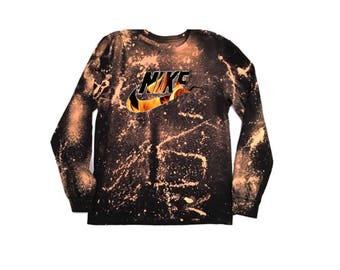 Bleached Destroyed Nike Flame Inspired T-Shirt