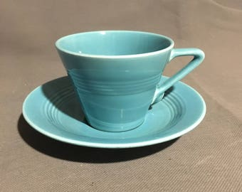 Vintage Turquoise Ceramic Tea Cup Coffee Cup with Saucer