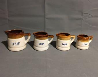 Vintage Brown Drip Glaze Stoneware Measuring Cups 1c 1/2c 3/4c 1/4c