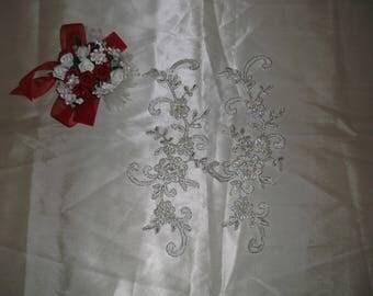 Ivory Silver/Pearl/Rhinestone Beaded Applique