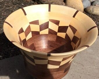 Walnut & Maple chevron pattern bowl