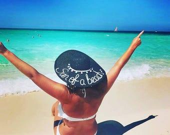 Honeymoon hat, floppy hat customised hat, personalised hat, custom beach hat, bride hat, kids hats ,straw hat,batchlorette, personalized