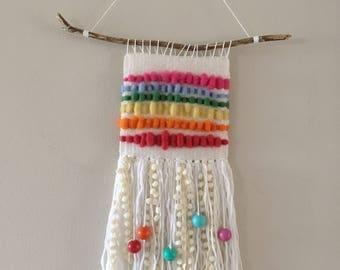 Rainbow weave wall hanging \\ homemade // boho // wall decor // nursery decor // modern