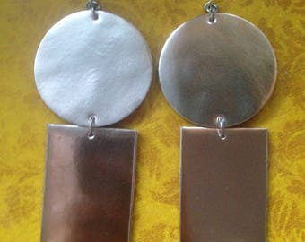 Metallic patent leather GeoBlock Earrings