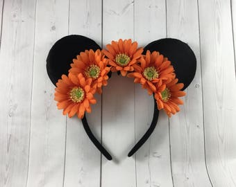 Orange Gerbera Daisy Flower Minnie Ears, Headband, Mickey Ears, Minnie Mouse Ears