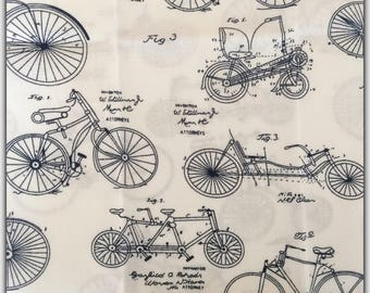 48X48cm bicycle pattern cotton fabric coupon