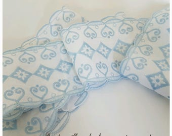 Rare! Old English embroidery white and baby blue
