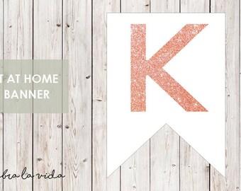 DIY Banner - 'K'. Instant Download. Printable Banner Letters. Pink Glitter. - 01